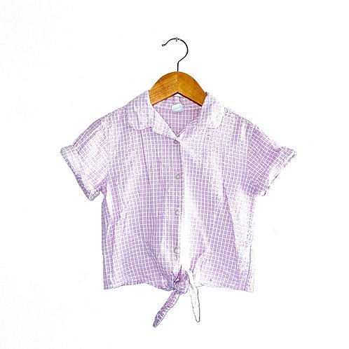Vintage Lilac Gingham Seersucker Tie Waist Blouse (7/9y)