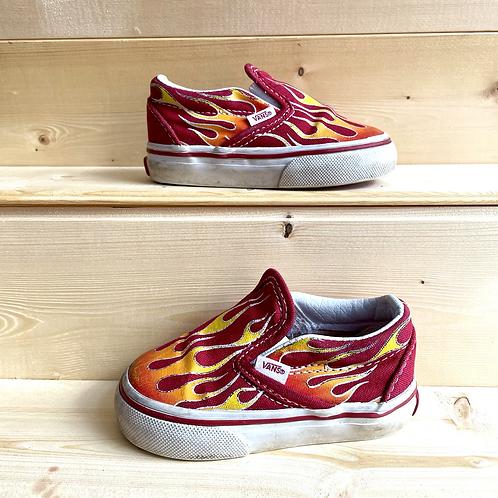 Red Flame Slip-on Vans (UK4)
