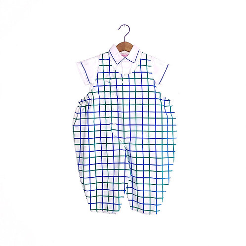 Vintage Cotton Checked Romper & Shirt Outfit (12m)