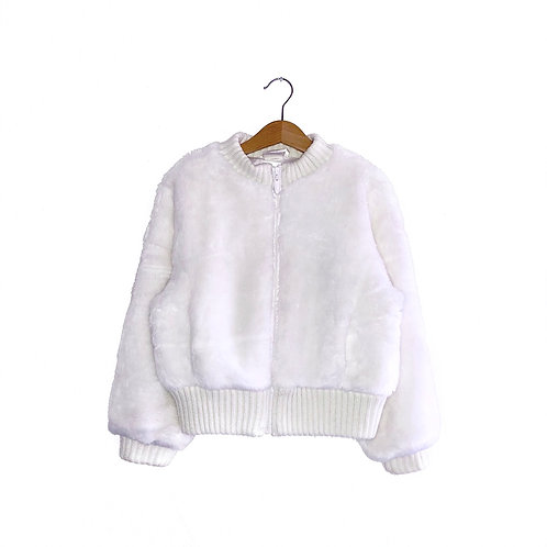 Vintage White Faux Fur Bomber Jacket (6/8y)