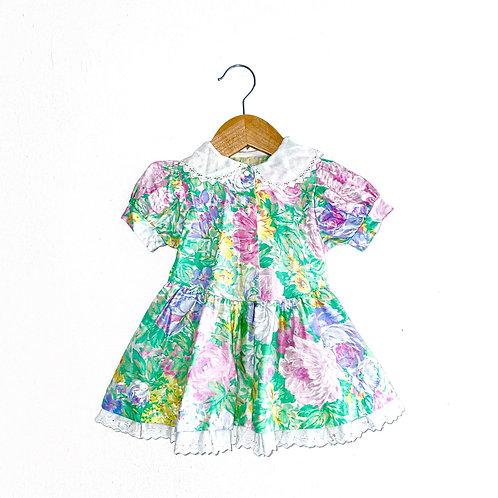 Vintage Pastel Floral Party Dress (12/18m+)