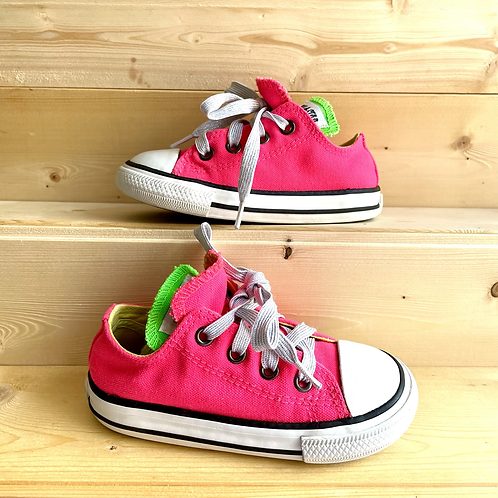 Neon Pink Double Tongue Converse (UK7)