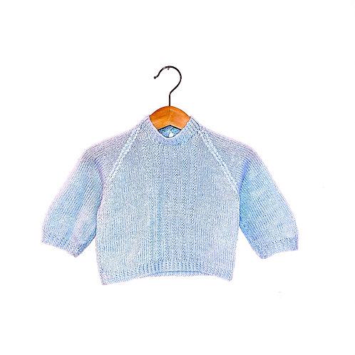 Vintage Knitted Pale Blue Jumper (0/3m)