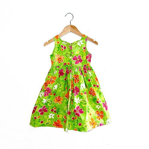 Crisscross back Floral Green Vintage 80's Sundress (4y)