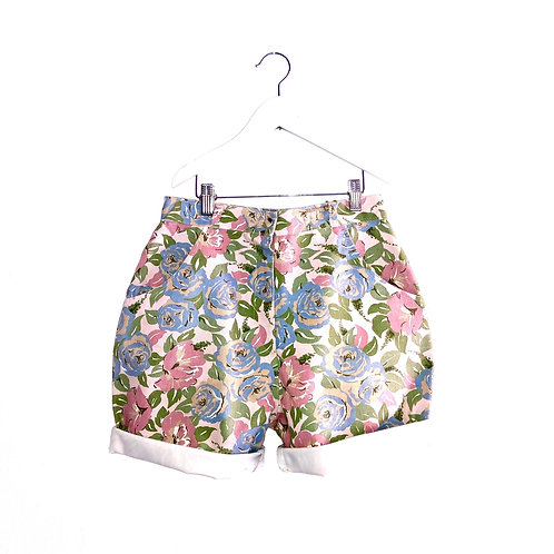 "Vintage Floral Denim Shorts (W27""/TEEN)"