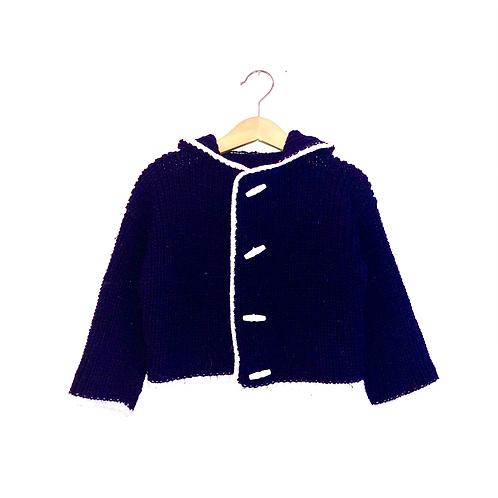 Chunky Vintage Navy Hooded Cardigan (2/3y)