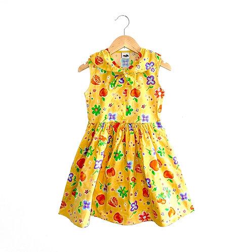 Yellow Tie Neck Vintage Floral Dress (6/7y)