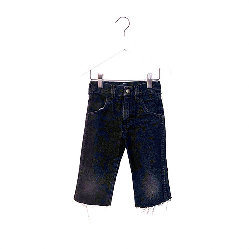 "Vintage Black/Acid Raw Hem 7/8ths Jeans (W20"" L10"" Approx 3/4y)"
