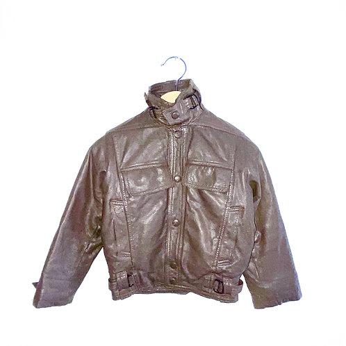Vintage Beige/Grey Leather Jacket (3/4y)