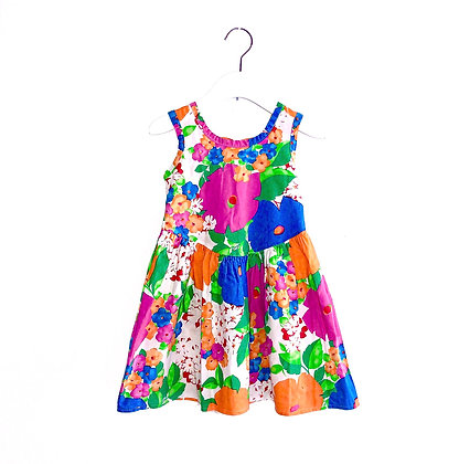 Lovely Handmade Vintage Bright Floral Dress (approx; 5y)