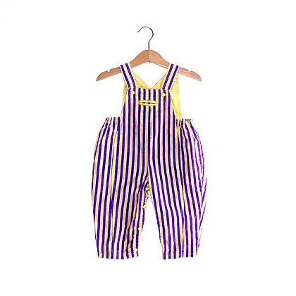 Vintage 90's Yellow/Purple Stripe Dungaress (6/12m)