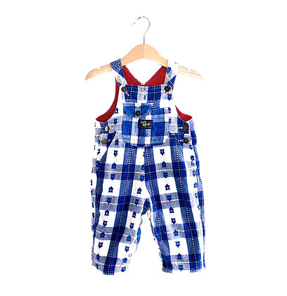 Vintage Brushed Cotton Checked Baby B'Gosh Dungarees (12m)