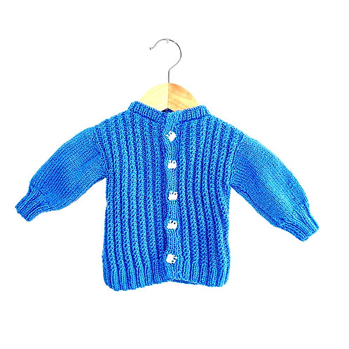 Blue Hand Knit Cable Cardigan with Train Buttons (Approx 6m)