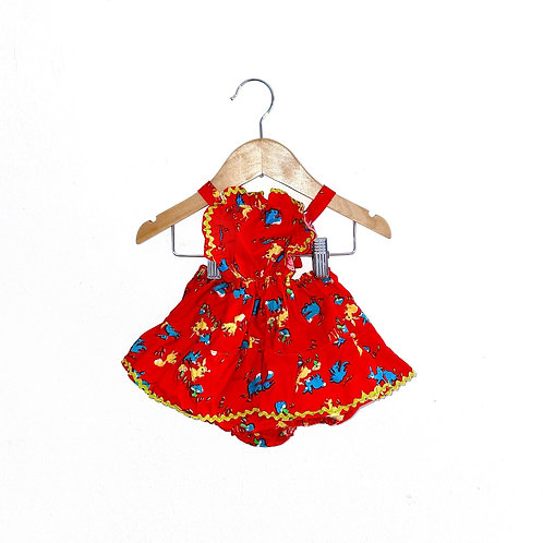 Vintage Patterned 70's Ruffle Sunsuit (Red, 1/2y)