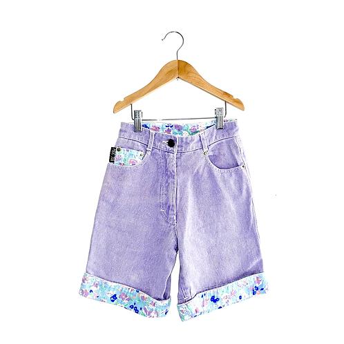 Lilac Floral Trim Denim Shorts (7/8y)