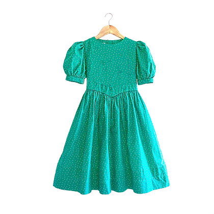 Vintage Laura Ashley Emerald Star Print Full Skirted Dress (7/8y)