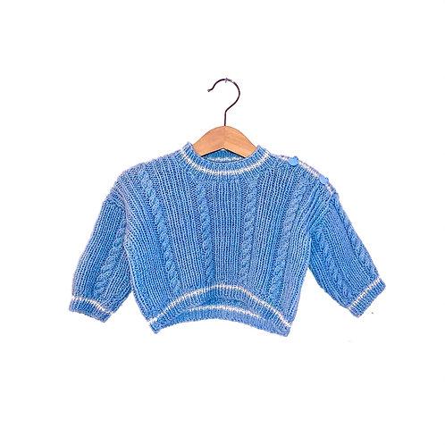 Vintage Cable Knit Blue Jumper (6/9m)