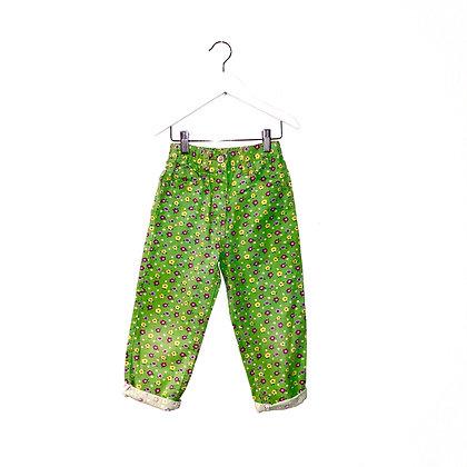 Vintage Green Floral Jeans (3/5y - see measurements)