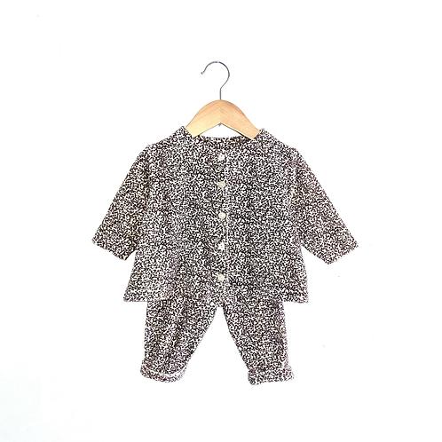Cute Vintage Leopard Velour Cardigan/Trousers Set (6/12m+)