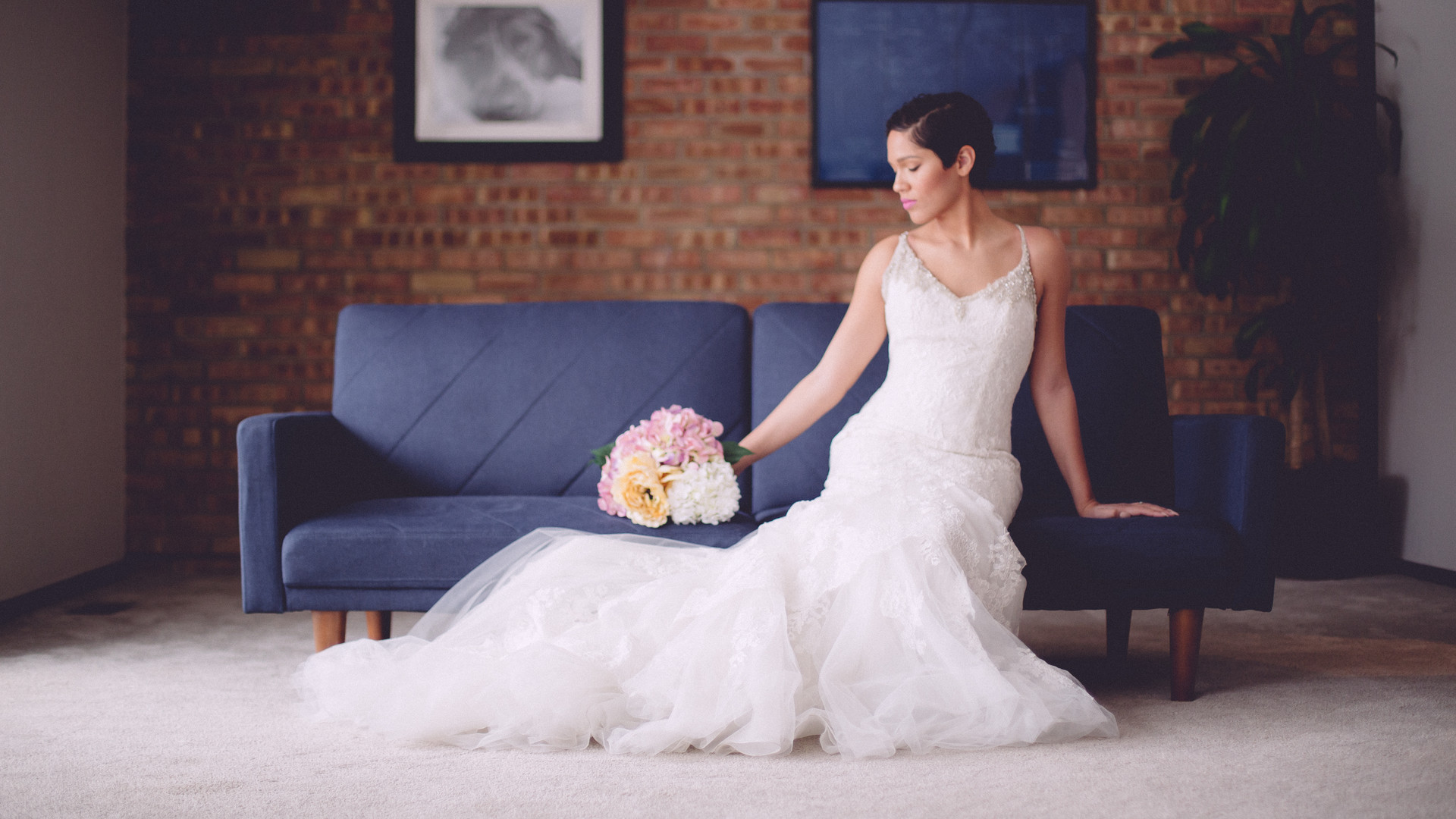 Bride on Blue Couch