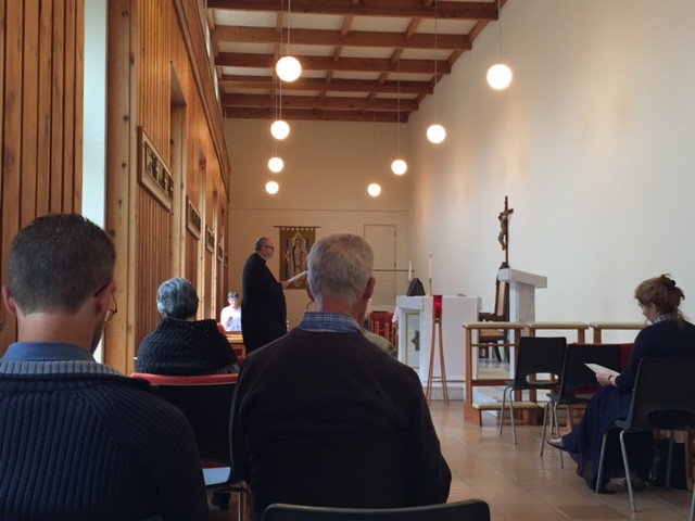 Morning prayer at the chapel led by ESAG's Chaplain, Father Lawrence Donnelly