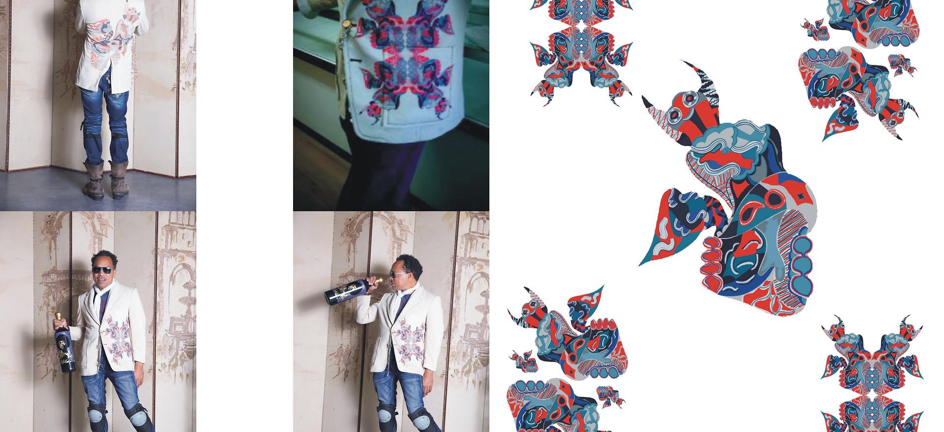 Jimi Hendrix dooding textile