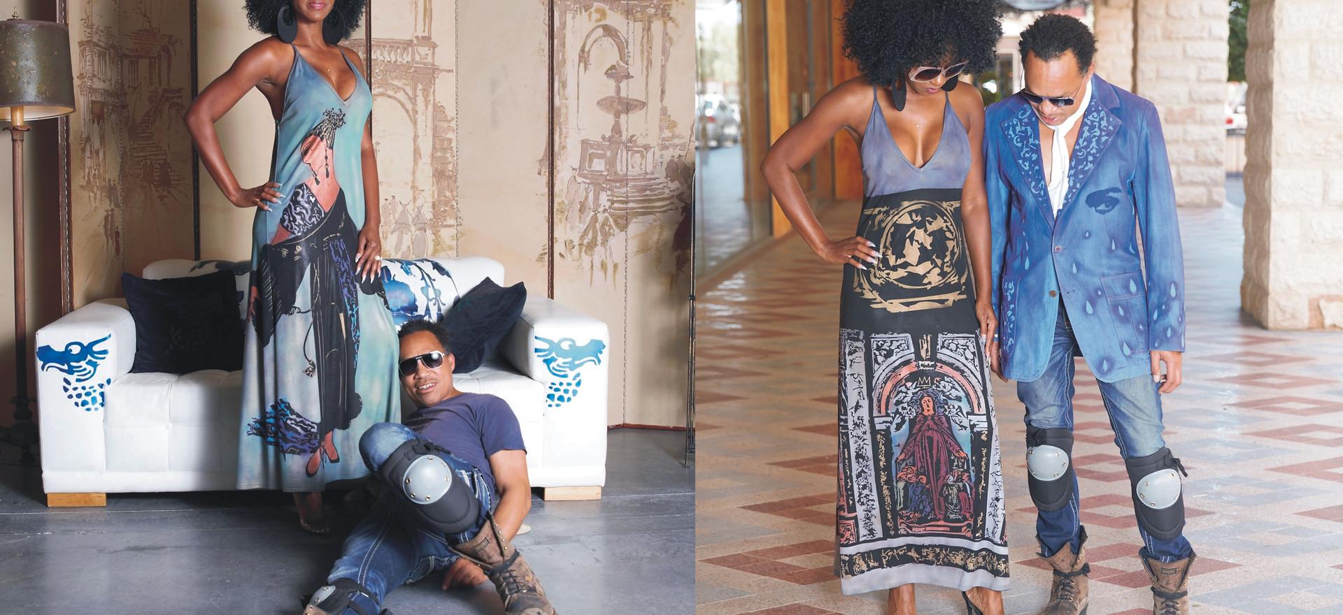 R:Arobia textile dress L: Famosa textile dress