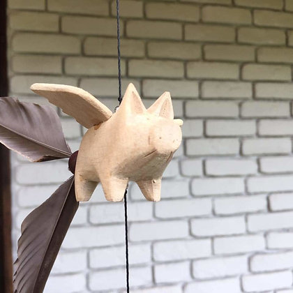 Wooden Pig Windchime