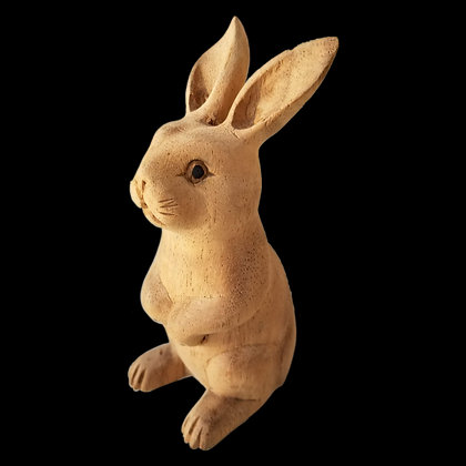 Detailed Wood Craft Rabbit Decor Figurine