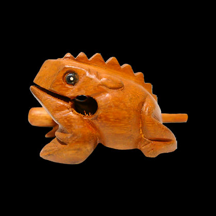 """3"""" Oak stained wooden Frog"""