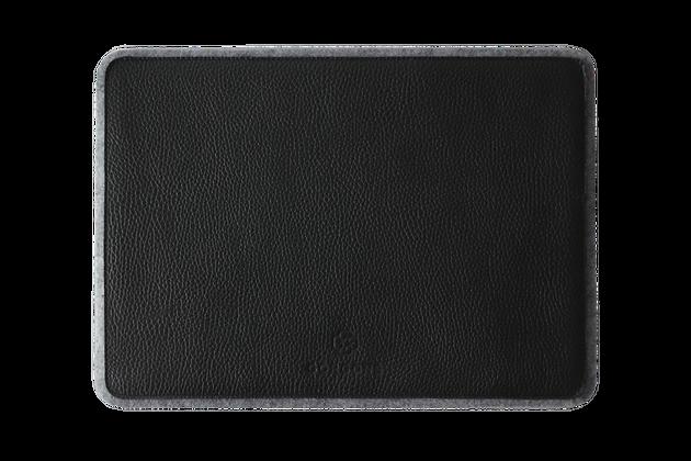 Ros   Hakiki Deri Laptop Masa Altlığı Gri & Siyah