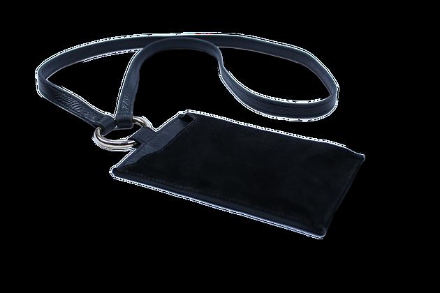 Minos Hakiki Deri Omuz Askılı Cep Telefonu Çantası Siyah