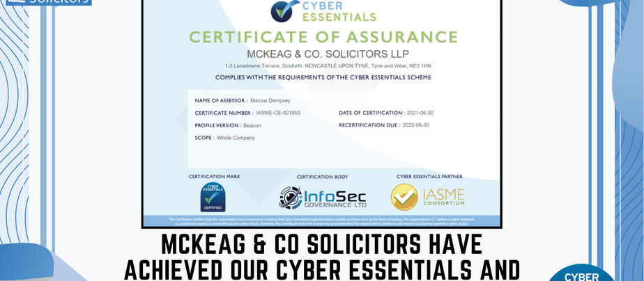 MCKEAG & CO RECEIVED OUR CYBER ESSENTIALS CERTIFICATION TODAY!