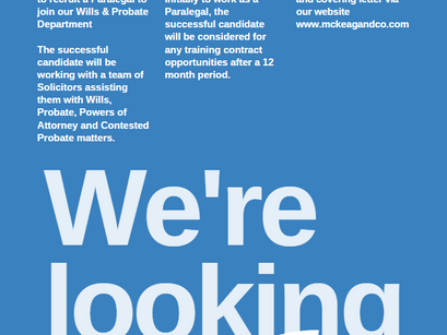 Recruitment Post - Paralegal (Wills & Probate Department)