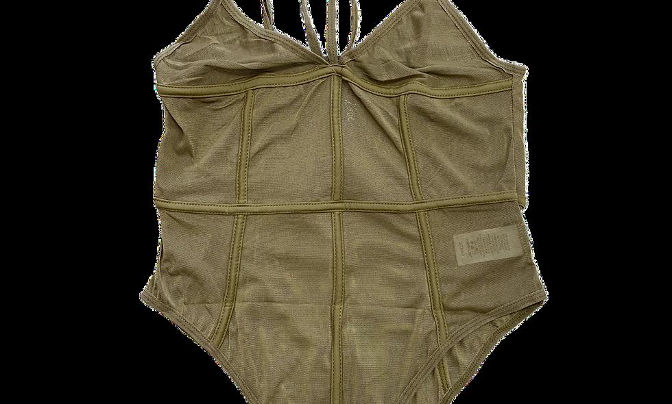 """Meshing Around"" Bodysuit -Olive"