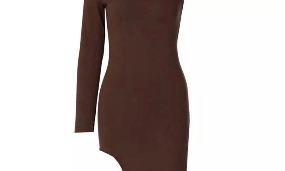 """""""Cold Shoulder"""" Dress (tan)"""