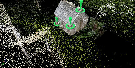3D image/point cloud of building in Church yard, Temple, Cornwall. Taken by ISCA Drones.