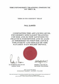 Certificate of Advanced Level Physiokey training