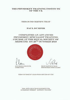 Certificate of Advanced Physiokey specialist training