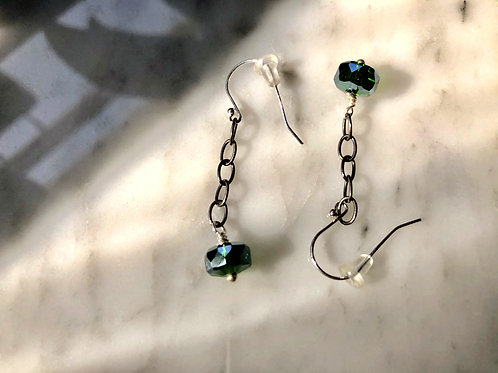 Sterling Silver Chain Earrings with Green Crystal