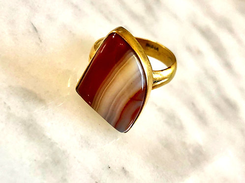 Agate and Rose Gold Ring