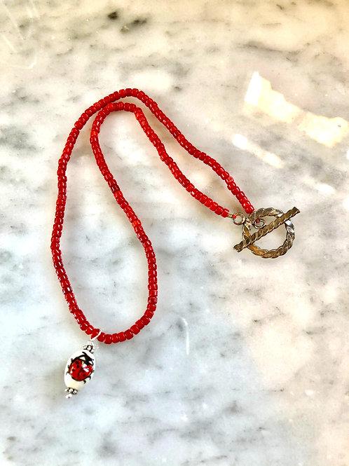 """Corral beaded ladybug necklace, 17"""""""