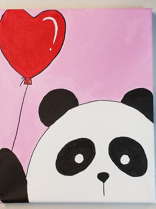 Panda with Heart Balloon