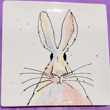 Wonky Bunny ceramic plate