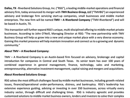 TMV MERGES WITH RIVERBEND SOLUTIONS GROUP
