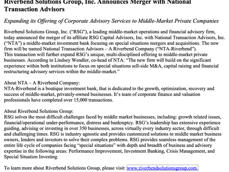 NATIONAL TRANSACTION ADVISORS (NTA) MERGES WITH RIVERBEND SOLUTIONS GROUP