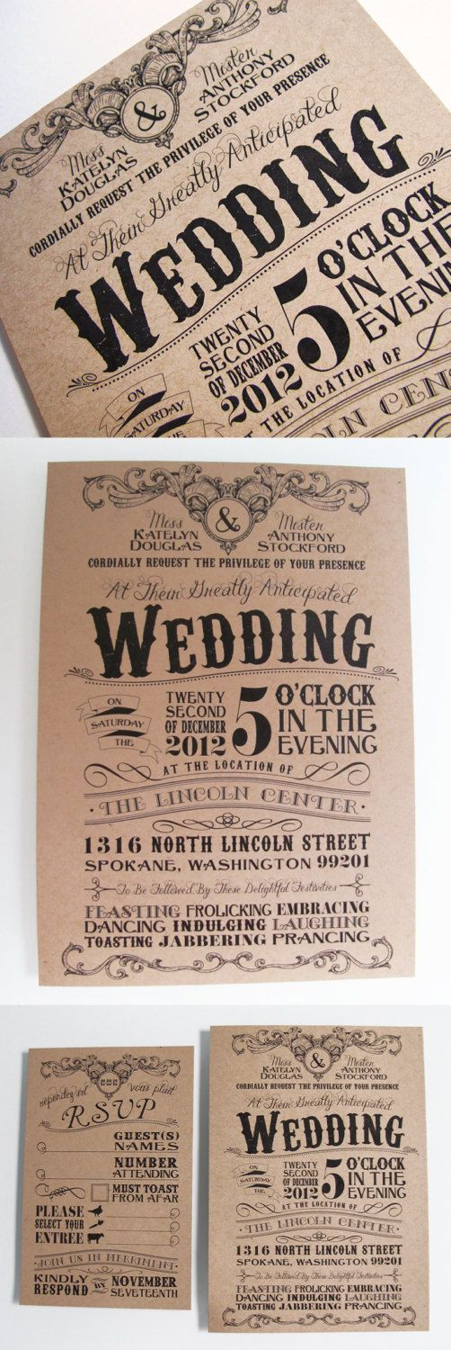 Vintage style invitations on Etsy