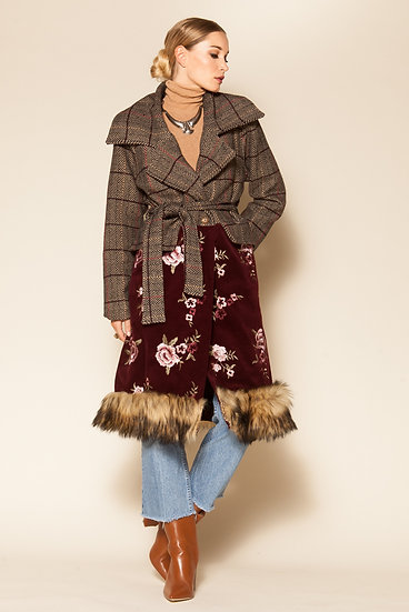 EARTH CHECK EMBROIDERED COAT