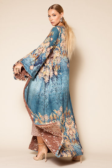 CRESCENT SEQUINED DOUBLE SIDED KIMONO DRESS