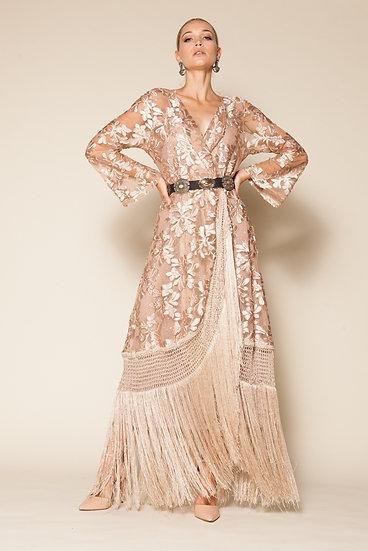 NAIAD FLORAL VELVET FRINGED TULLE KIMONO DRESS